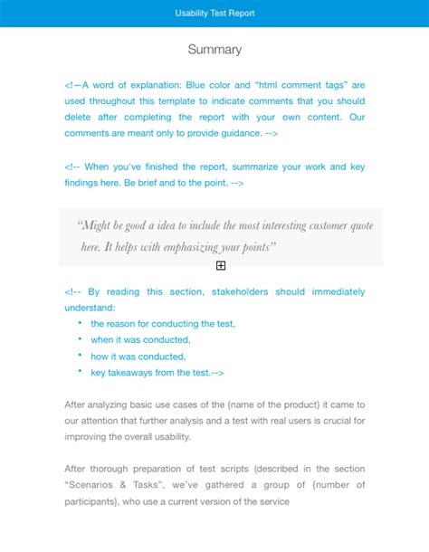 usability testing report   templates  usability