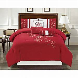 Empire, Home, Vine, 7, Piece, Red, Oversized, Embroidered