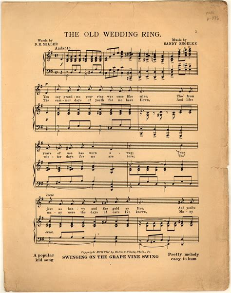 the old wedding ring historic american sheet music