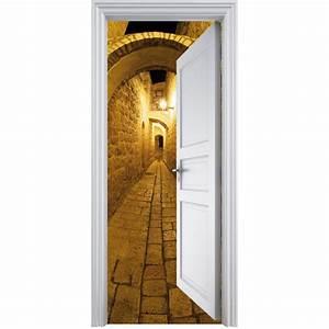 Deco Porte Interieure En Trompe L Oeil : sticker porte trompe l 39 oeil d co ruelle 90x200cm art d co stickers ~ Carolinahurricanesstore.com Idées de Décoration