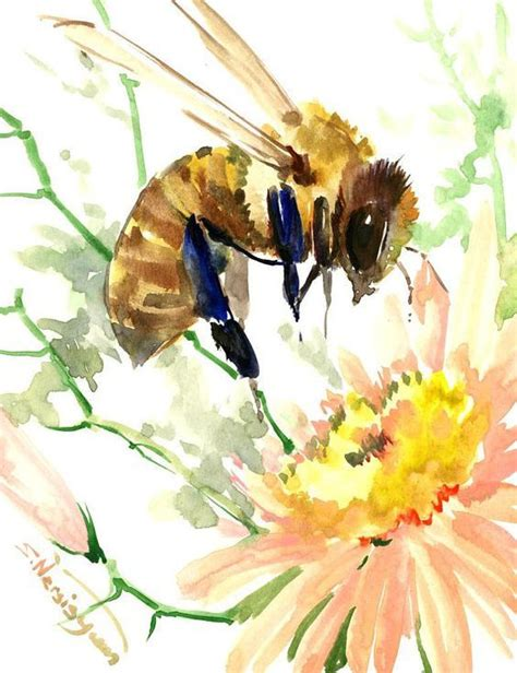 bee and flower bumblebee honey making original one of a kind watercolor painting watercolor