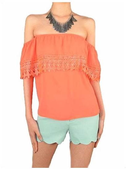 Spanish Blouse Clothes Wear Shoulder Orange Rose
