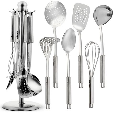 kitchen utensil set miusco premium stainless steel cooking utensil set with