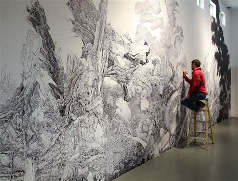 A Sprawling Wall-sized Mural Drawn With Only A Black