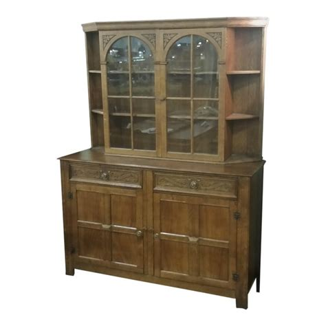 vintage english oak buffet display cabinet hutch sideboard chairish