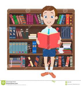 Cartoon Boy Reading in Library Books