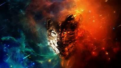 Wolf Space Wolves Wallpapers Colorful Deviantart Wallpapersafari