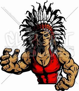 Wrestling Indian Chief Mascot Graphic Vector Image