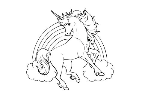 rainbow unicorn coloring pages flying print color craft