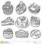 Dessert Baking Sketch Different Drawing Kinds Bar Menu sketch template