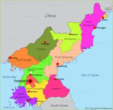 north korea map map  north korea annamapcom