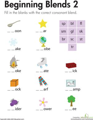 beginning blends 2 worksheet education