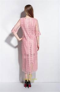 Pink Lace Overlay Tea Length Dresses With Sleeves | Vampal ...