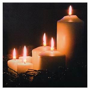 Led Bild Kerzen : led bild weihnachtsbild leinwand 5 farbige led kerzen flackerlicht h ambiente ~ Frokenaadalensverden.com Haus und Dekorationen