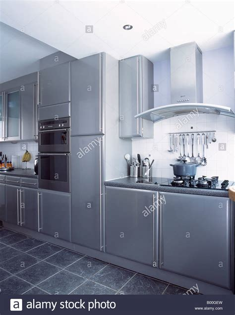 grey slate tiles kitchen wall mounted ovens in modern metallic grey kitchen with 4089