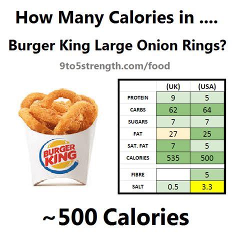 burger king calories many onion rings menu