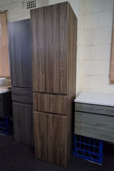 mm walnut oak timber wood grain bathroom tallboy side