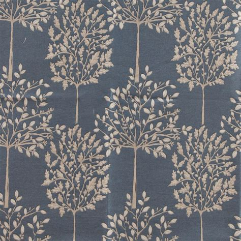 orchard curtain fabric in indigo chenille woven fast
