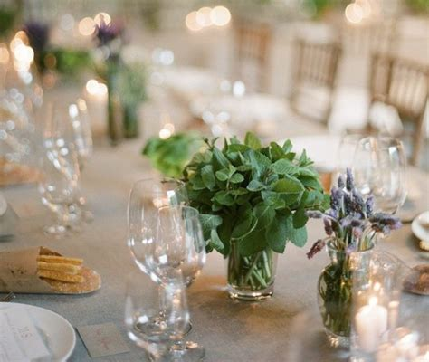 simple herb centerpieces place settings   holidays