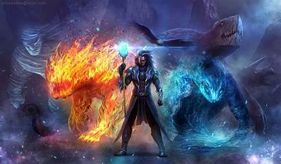 Elemental Summoner Wizard Magic Creature Background Fantasy
