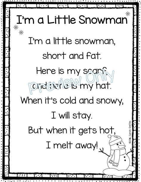 daughters and kindergarten 5 winter poems for 712 | I%2527m%2Ba%2BLittle%2BSnowman