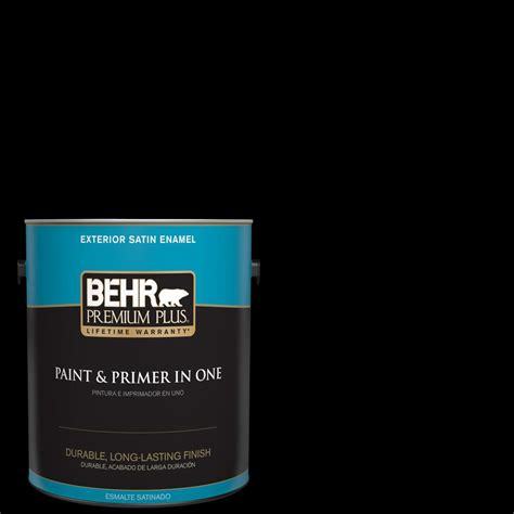 behr premium plus 1 gal black satin enamel exterior paint and primer in one 934001 the home depot