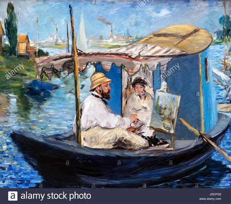 Manet Monet In His Studio Boat by Monet Painting On His Studio Boat By Edouard Manet 1832