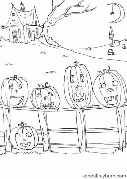 Coloring Pumpkins Sheet Five Template Halloween