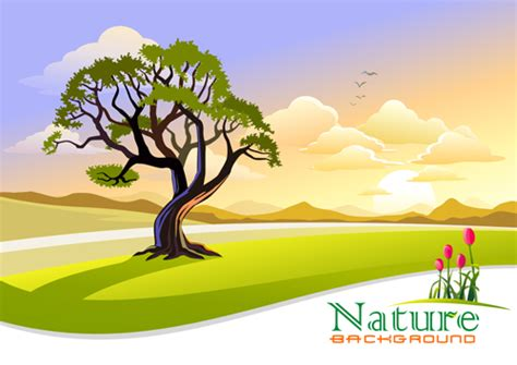 Tree Natural Scenery Vector Background Free Download