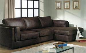Canape Angle Marron : canap d 39 angle aspect cuir marron mobilier ~ Teatrodelosmanantiales.com Idées de Décoration