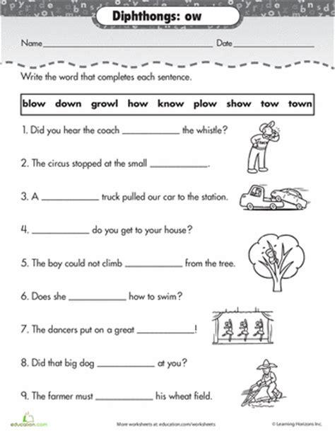 worksheets on vowel diphthongs worksheets practice reading vowel diphthongs ow