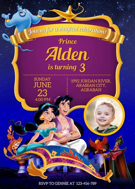 aladdin birthday christening invitation dioskouri designs
