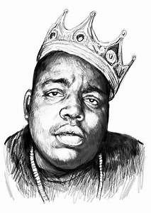 Biggie Smalls Art Drawing Sketch Portrait - 1 Painting by ...