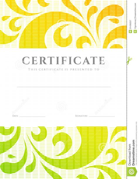 certificate diploma template scroll pattern stock