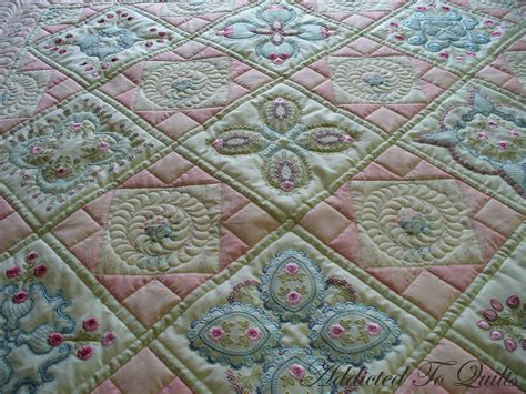 embroidery quilting designs addicted to quilts two pretty embroidery quilts