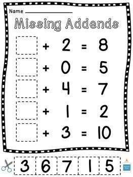 First Grade Math Worksheets With Missing Addends
