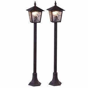 Lampadaire Exterieur Terrasse : 2 x lampadaire ext rieur lanterne aluminium all e jardin clairage terrasse luminaire sur pied ~ Teatrodelosmanantiales.com Idées de Décoration