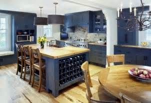pottery barn kitchen island home decor trend navy blue kitchen walls and cabinets