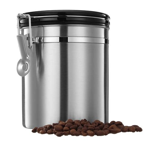 kitchen storage canister 1 5l silver stainless steel sealed coffee bean tea storage