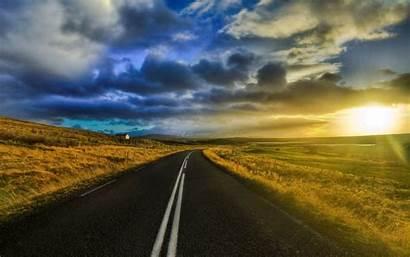 Landscape Sunset Road Country Roads Dusk Amazing