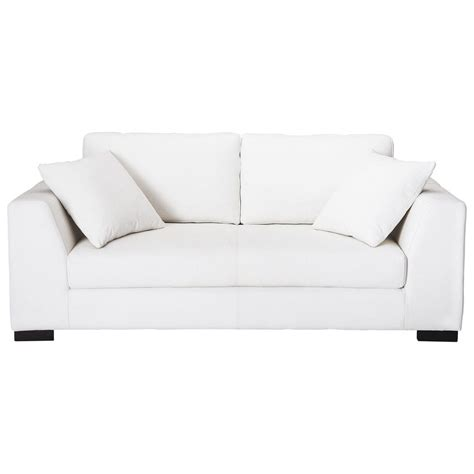 canapé blanc en cuir canapé 2 3 places en cuir blanc terence maisons du monde