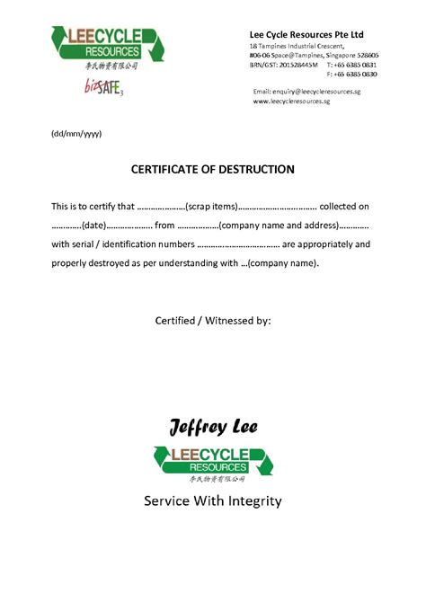 certificate  destruction leecycle resources singapore