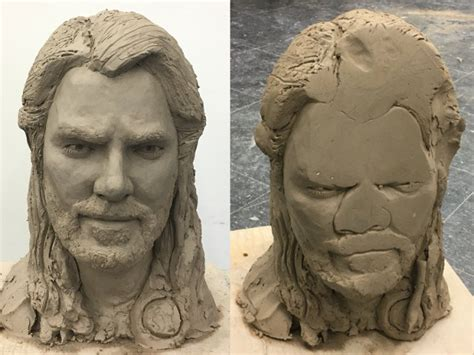 before after clay thor bust gets dropped face down my