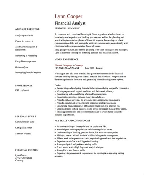Financial Analyst Resume Template Free by Sle Finance Resume Template 7 Free Documents