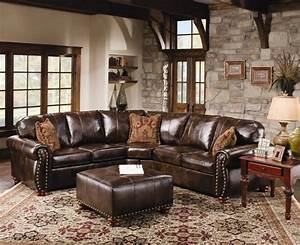 Rustic leather sectional sofa with tables and carpets for Ideas to separate a sectional sofa