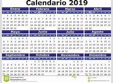 Calendario Español 2019 Horizontal Ilustración del Vector