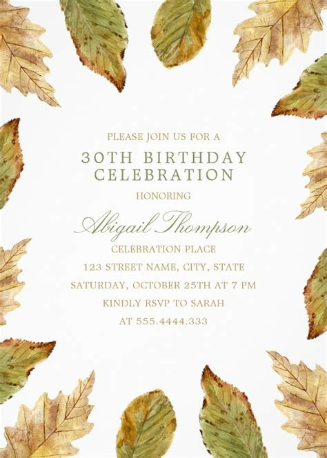 Fall Leaves 30th Birthday Invitations Watercolor Frame