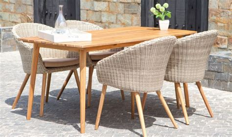 salon de jardin rtro en bois et rotin 1 table 4