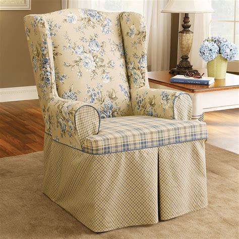 shabby chic slipcovers for wingback chairs upholstered arm chair with shabby chic wingback slipcover and plaid pattern seat plus cream