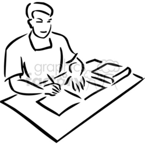 14806 student thinking clipart black and white student studying books clipart 56